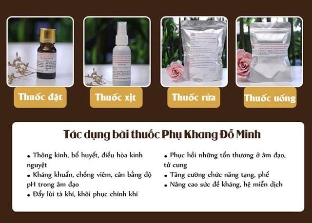 Sự kết hợp cả 4 phương thuốc nhỏ trong 1 liệu trình Phụ Khang Đỗ Minh