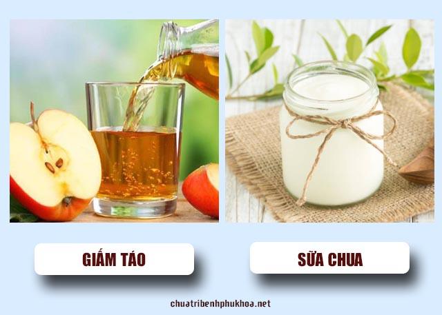giấm táo và sữa chua trị viêm phụ khoa