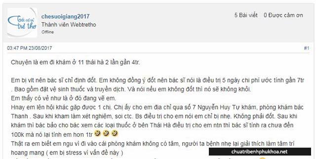 bài đánh giá về phòng khám Thái Hà