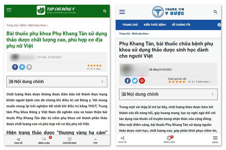 Chất lượng thảo dược của Phụ Khang Tán được đánh giá cao trên nhiều Tạp chí, kênh thông tin